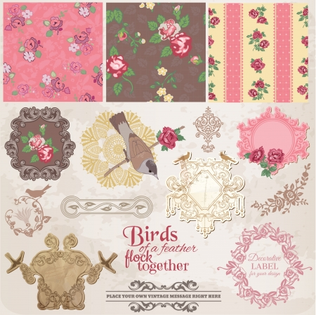 stationary set: Scrapbook Design Elements - Vintage Flowers and Birds