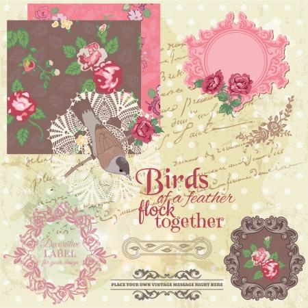 vintage paper background: Scrapbook Design Elements - Vintage Flowers and Birds
