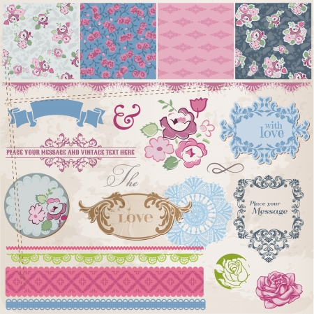 Scrapbook Design Elements - Vintage Flowers and Frames- in vector Vector