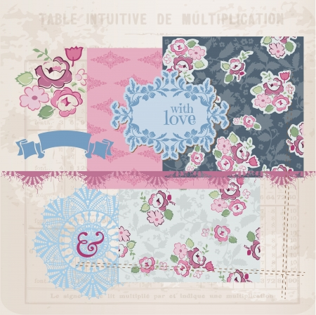 Scrapbook Design Elements - Vintage Flowers and Frames-  Vector