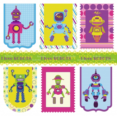 scrap metal: Set of Tags - Cute little Robots - for your design or scrapbook - in vector