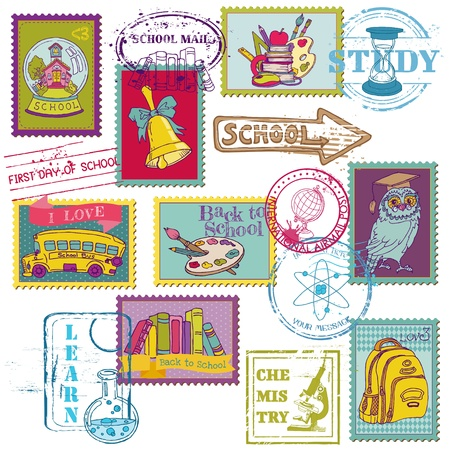 first day of school:  Set of SCHOOL stamps - for design and scrapbook