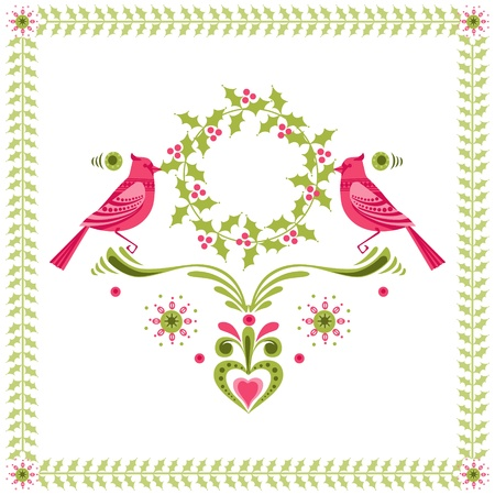 christmas gift tag: Christmas Card - Birds with Christmas Wreath - for invitation, congratulation