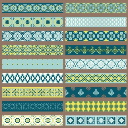 linen paper: Set of Ribbons and Borders - for design and scrapbook
