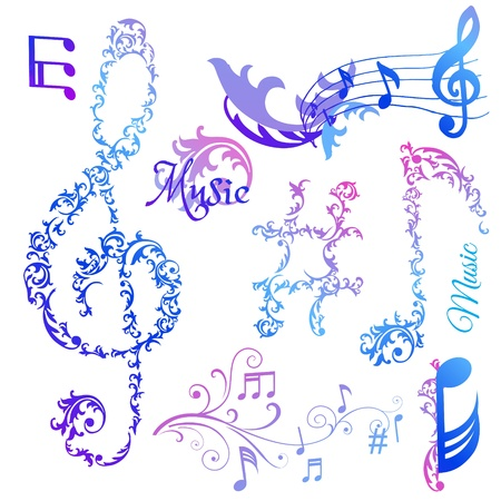 Set of Musical Notes Elements Vector