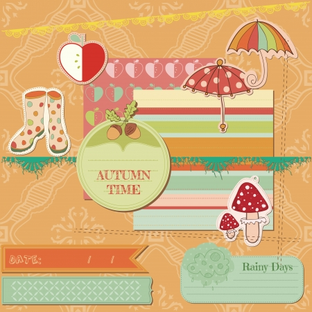 scrap booking: Scrapbook Design Elements - Autumn Time - for scrapbook, design, invitation - in vector Illustration