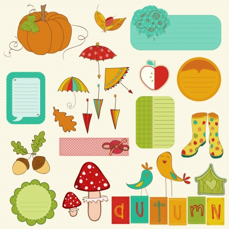 Autumn Cute Elements Set - for scrapbook, design, invitation, greetings Vector