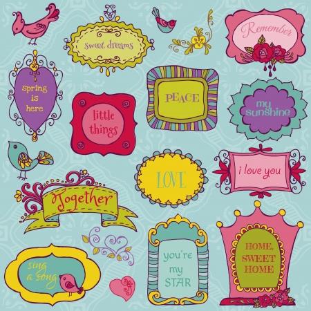 papel scrapbook: Sweet Marcos Doodle con los p�jaros y Elementos Florales Vectores