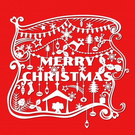 campanas de navidad: Merry Christmas Greeting Card - estilo de corte de papel