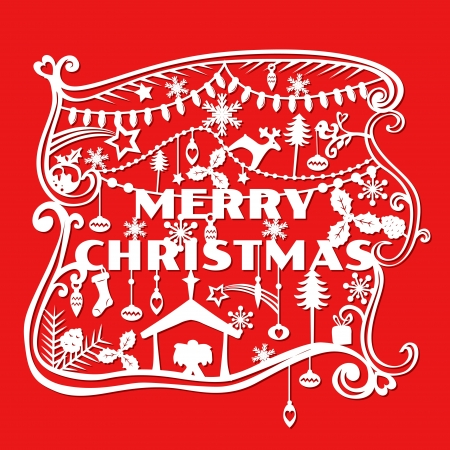 cut paper: Merry Christmas Greeting Card - paper cut style Illustration