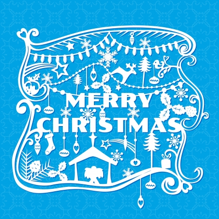 Merry Christmas Greeting Card - paper cut style Vector