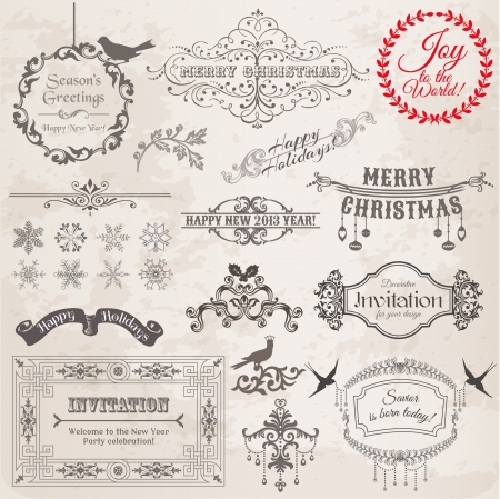 Set: Christmas Calligraphic Design Elements and Page Decoration, Vintage Frames  Vector
