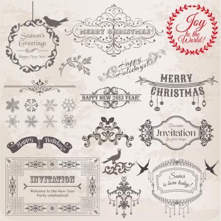 page decoration: Set: Kerstmis kalligrafische ontwerpelementen en pagina decoratie, Vintage Frames