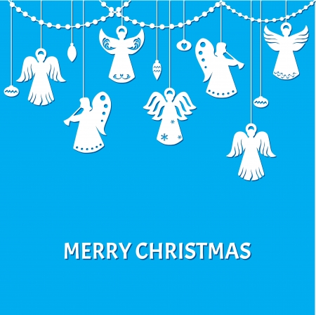 Merry Christmas Greeting Card - Angels - paper cut style Vector
