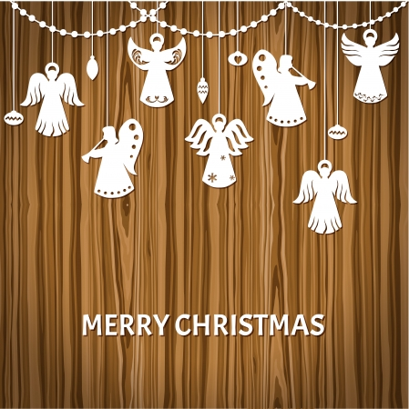 christmas angels: Merry Christmas Greeting Card - Angels - paper cut style