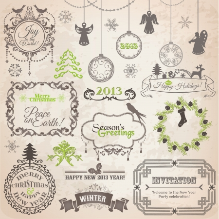 Set: Christmas Calligraphic Design Elements and Page Decoration, Vintage Frames