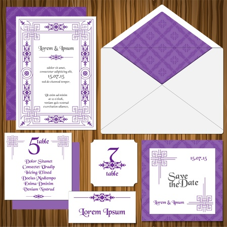 Wedding Invitation Card Set -Classic Style Invitation, table signs, name cards, guest cards Vector