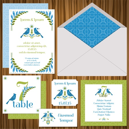 Wedding Invitation Card Set -Vintage Birds- invitation, table signs, name cards,guest cards Stock Vector - 15120276