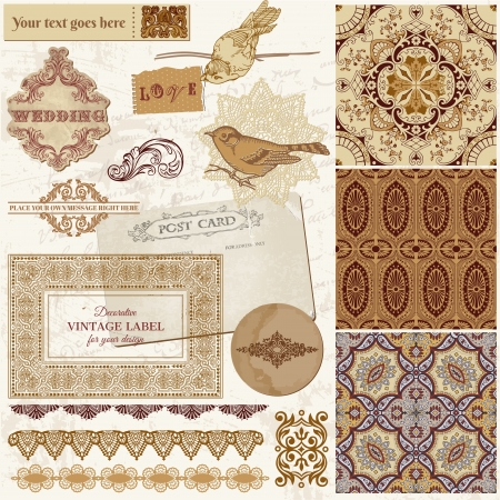 Vintage Wedding Scrapbook Set - Persian Tiles and Birds Vector