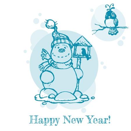 holiday season: Christmas or New Year Card - Birds and Snowman - for invitation, congratulation