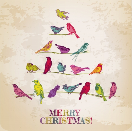 vintage postcard: Retro Christmas Card - Birds on Christmas Tree - for invitation, congratulation