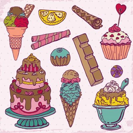 pie de limon: Conjunto de tortas, dulces y postres - dibujado a mano en