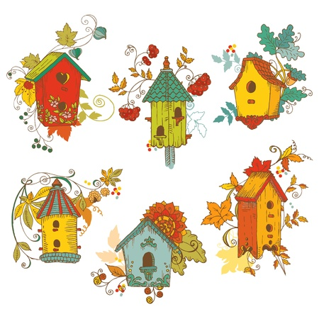 bird house: Decorative Autumn branches with Birdhouses - for scrapbook and design