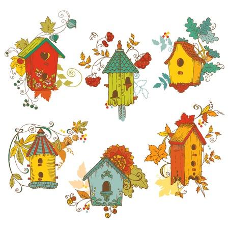 Decoratieve herfst takken met Vogelhuisjes - voor scrapbook en design