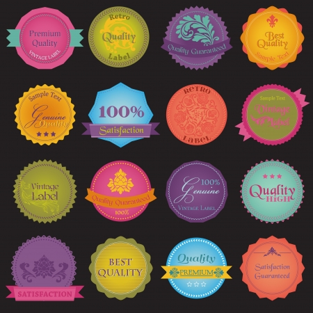 scrap trade: Collection of Premium Quality and Guarantee Colorful Labels with vintage design