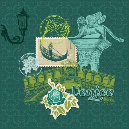 Elementos de dise�o del libro de recuerdos - Tarjeta Vintage Venecia con sellos