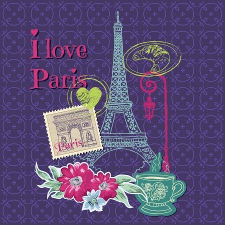 paris france: Scrapbook Design Elements - Paris Vintage Card with Stamps Illustration