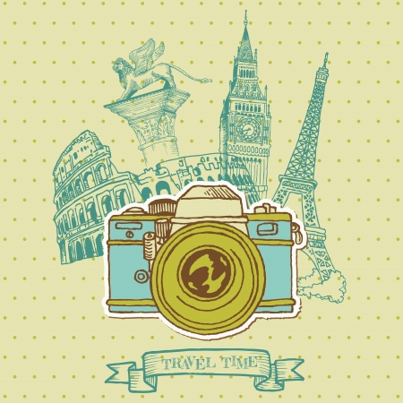 Lovely Card - Vintage Camera with Europe Architecture Vector