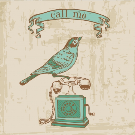 vintage telefoon: Scrapbook Design Elements - Vintage telefoon met een Vogel