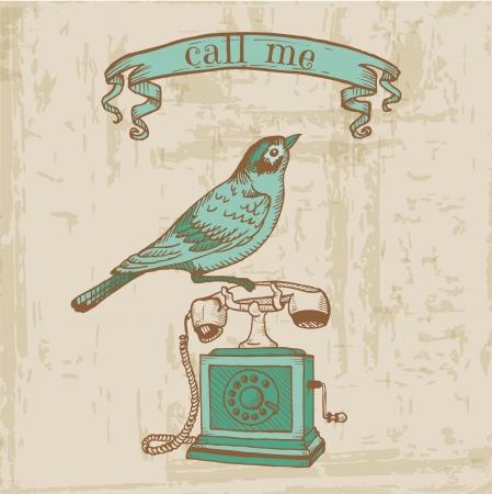 Scrapbook Design Elements - Vintage Telephone with a Bird