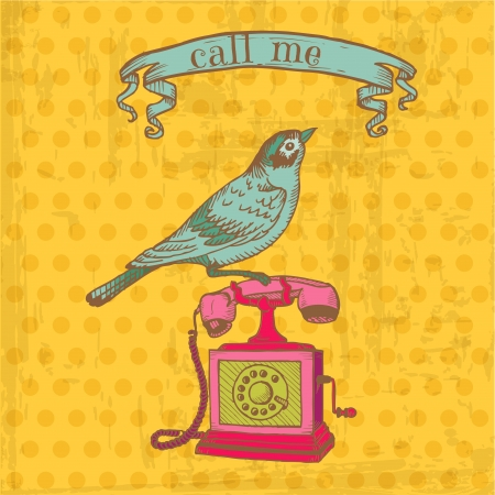 old telephone: Scrapbook Design Elements - Vintage Telephone with a Bird