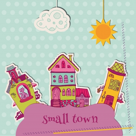 little town: Little Town Scrap - for scrapbooking and design Illustration