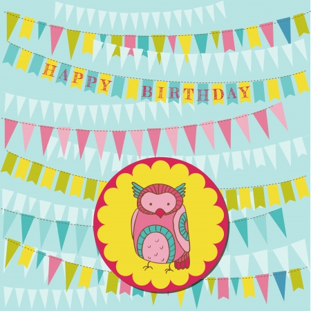 Happy Birthday Card with Cute Owl Vector