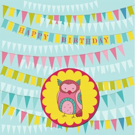 Happy Birthday Card with Cute Owl Stock Vector - 15120315