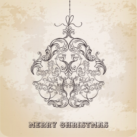 classic style: Christmas Ball made from Vintage Ornate Elements - Christmas Card Illustration