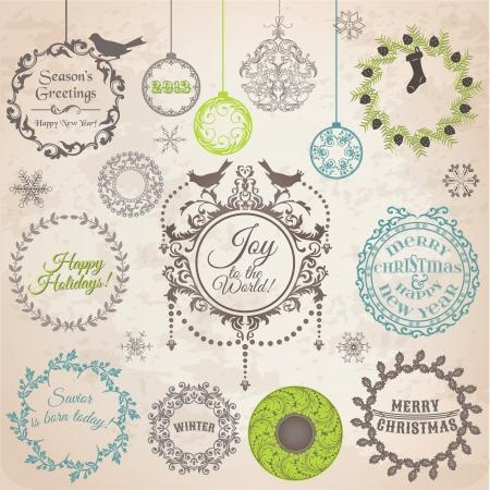 adornos navideños: Decoración de Navidad Elementos caligráficos del diseño y Page, Marcos Vintage: Conjunto