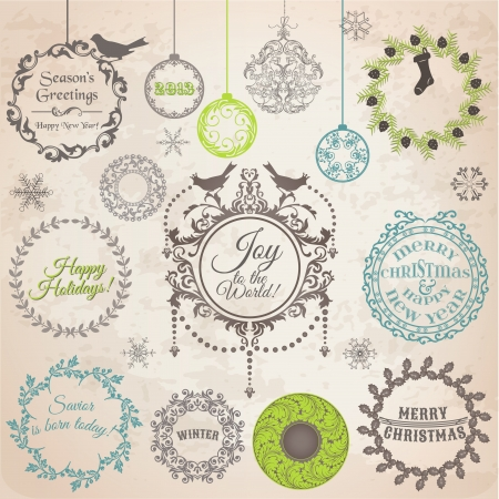 wreath christmas: Set: Christmas Calligraphic Design Elements and Page Decoration, Vintage Frames