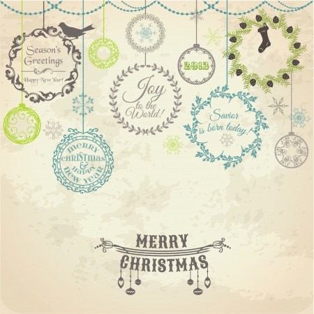 christmas wreath: Vintage Christmas Card - for design and scrapbook Illustration