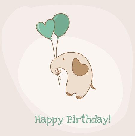 Greeting Birthday Card with Cute Elephant Stock Vector - 15120292