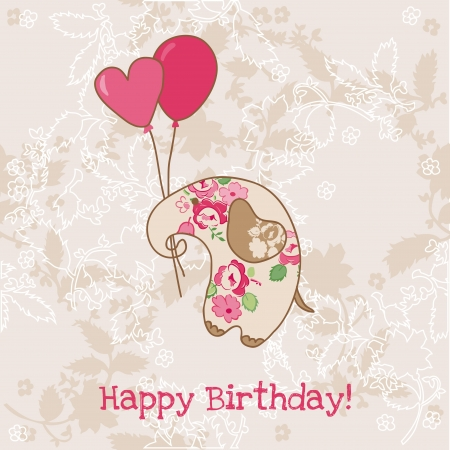 Greeting Birthday Card with Cute Elephant Vector