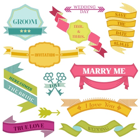 Wedding Vintage Frames, Ribbons and Design Elements Vector