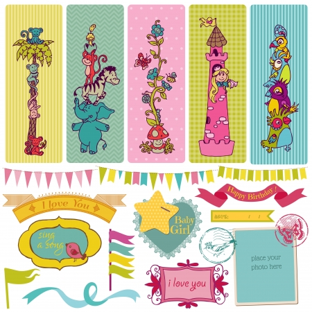 Scrapbook Design Elements - Vintage Child Set  Vector
