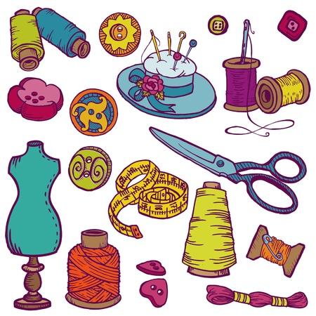 sew: Doodles de costura Kit - dibujados a mano elementos de dise�o Vectores
