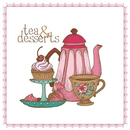 teapot:  Tea and Desserts - Vintage Menu Card