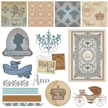 Elementos del libro de recuerdos de diseño - Conjunto Libre Vintage