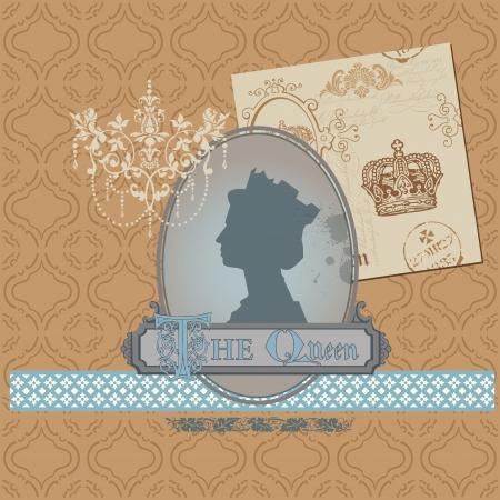 corona reina: Elementos del libro de recuerdos de dise�o - Conjunto Libre Vintage